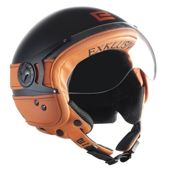 casque moto jet nox exklusiv cuir noir orange
